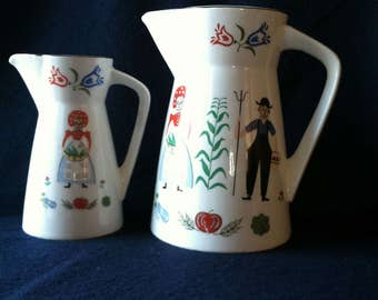 Vintage pair of Country Pitchers