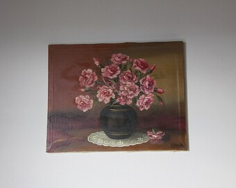 French Vintage Painting of Flowers Shabby Chic Signed by Artist