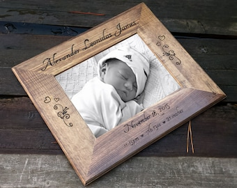 8x10 baby photo picture frame, 5x7 personalized picture frame, engraved wooden frame, baby picture frame, custom photo frame, baby shower
