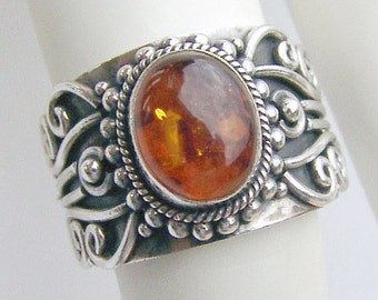 SaLe! sALe! Amber Ring Sterling Silver