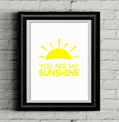 Nursery Wall Art, You are My Sunshine Wall Art, 8x10 Printable