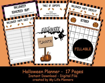 Halloween Planner, Halloween Party Kit, Halloween Printable, Happy Planner Insert, Party Planner, Size 8.5 x 11, Fillable Form, PDF File