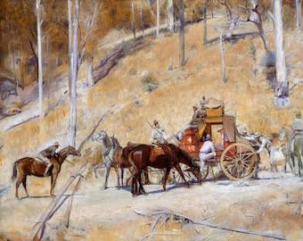 Tom Roberts, Bailed Up 1895, HD Canvas Print or Art Print, Vintage Antique Artwork Wall Poster Australian Impressionism Outback Bushranger