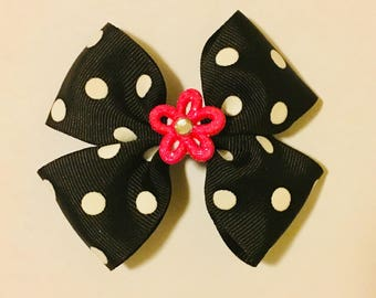 """4"""" Black Polka Dot Hair Bow with Pink Flower"""