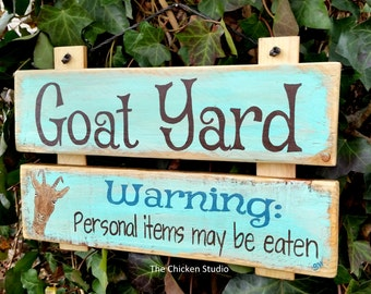 Goat Yard,  Goat Sign, Funny Goat, Farm Sign, Outdoor sign, reclaimed wood, goats, farm animals