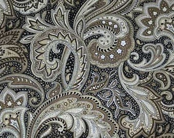 Perugina Paisley Fabric Black Tan Khaki Floral By the Yard Quilting Cotton t1/36