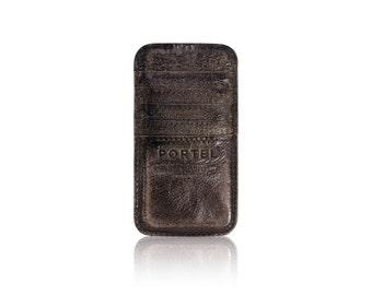 iPhone 6+, iPhone 7+, iPhone 8+ RETROMODERN aged leather pocket - - DARKBROWN