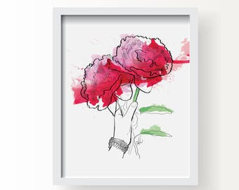 Justine's Peonies - Flowers Fine Art Illustration Print, Fashion Watercolour Wall Art Print, Poster Illustration, Art for Home, Office
