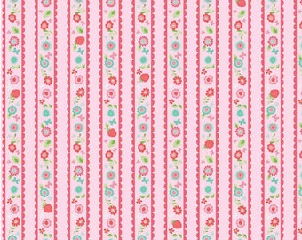 Pink Butterflies & Berries Stripes from Riley Blake Fabric's Butterflies and Berries Collection