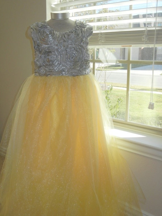 Flower girl dress junior bridesmaid yellow and gray flower like this item mightylinksfo Image collections