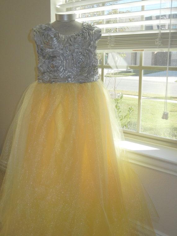 Yellow and gray flower girl dress gallery flower decoration ideas mightylinksfo