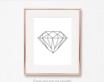 Fashion wall art / Geometric diamond wall print / String art pattern /  Geometrical decor /