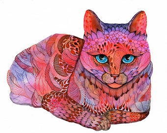 Kitty, Sunset Cat water color painting print, neon animal art, size 10'x8'/A4 (No. 21)