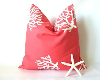 Coral Pillow Cover - Sea Coral Pillow, 20 x 20, Beach Pillow, Ocean Decor