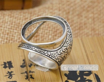 Ring Blank for 20x20mm Round Cabochons Adjustable Band Large Blank Ring Base Thai Sterling Silver Ring Setting JZ108