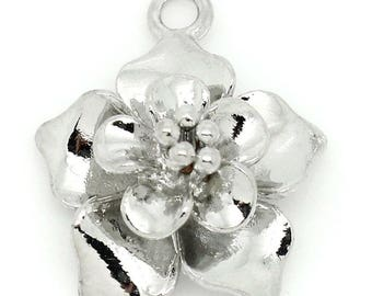 Beautiful flower charm in shiny silver Metal 14x17mm CHARMS