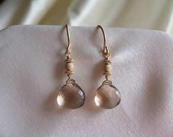 Champagne quartz briolette heart gold filled earrings MLMR item 694