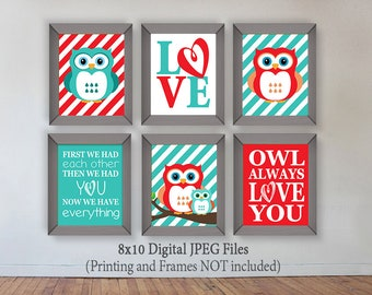 Owl, Red and Turquoise Owl, Digital Prints, Owl Nursery Decor, Download, Printable, Wall Art, First we had each other then we had you
