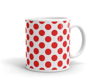 Red Polka Dots Pattern Coffee Mug