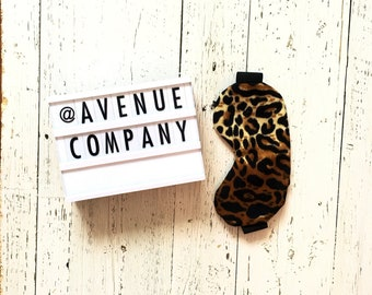 Oversized Womens Mens Sleeping Sleep Travel Eye Mask Stretchy Silk Satin Leopard Print Into The Wild