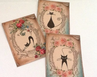 8 Cat Poses Gift/Thank You Tags