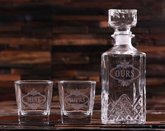 His and Hers Decanter and Whiskey Glass Set Gift for Men, Groomsmen, Father's and Dad