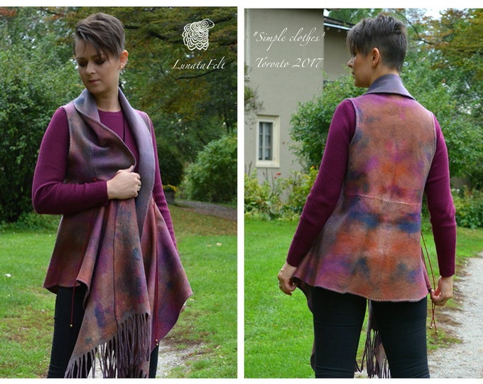 Featured listing image: Lillac - Eco style and boho chic fashion felted reversible vest from organic wool and silk fabers, OOAK, ready to ship