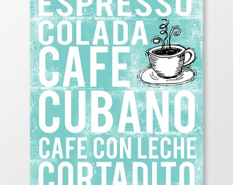 Cuban Coffee Poster - Coffee Poster - Coffee Print - Coffee Wall Art - Coffee Decor - Coffee Art - Coffee Shop Art - Custom Coffee Poster