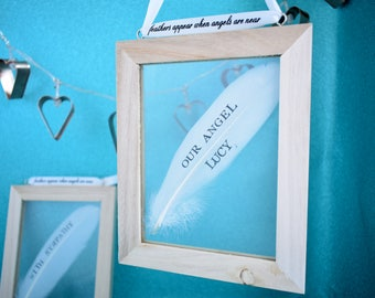 Bereavement Loss Sympathy Personalised Gift Frame. Your Words Hand Stamped on a White Feather Then Framed. Angel Memorial Mourning Keepsake