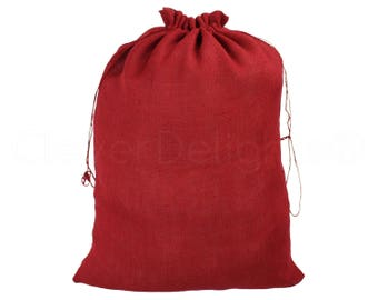 """20 Pack - 18"""" x 24"""" Red Burlap Bags - Natural Burlap Bags with Jute Drawstring for Christmas & Holiday Gifts - Large Rustic Decor Gunny Sack"""