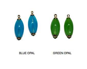 Glass Beads, Oval Beads, Blue Beads, Green Beads, 22x10mm, 4 pcs