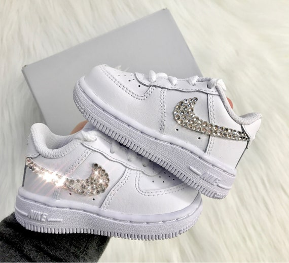 Baby Bling Nike Air Force 1 Low With Swarovski Diamond Crystals White  Toddler Nike Sneakers