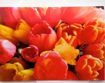 Mother's Day Floral Card - Spring Bouquet Card - Happy Spring Card - Tulips & Daffodils Card - Just Because Card - Floral Photo Card