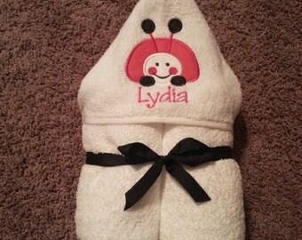 Personalized Ladybug Hooded Towel