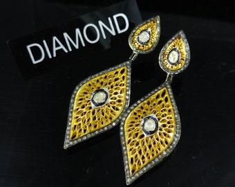 Pave Diamond Gold Earrings -  Pave Earrings - 925 Sterling Silver - Dangler Earrings- Rose Cut Diamond - Women Earrings - Gift for her
