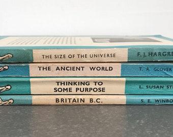 Set of four vintage penguin books - blue and white - bookshelf decor - '30s to '40s - vintage advertising