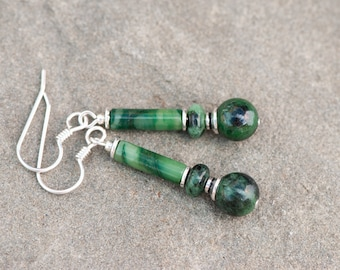 Green Zoisite Earrings, Green Natural Stone Earrings, Green and Black Earrings, Sterling Silver, Healing Stone, Stone of Strength