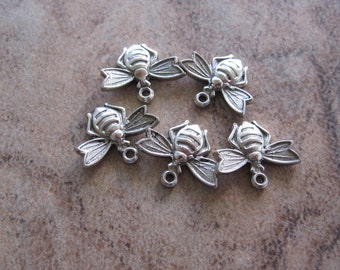 5 Stampt Antiqued Pewter (plated) Flying Bee Charms - 13x10mm - JD168
