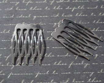 2 silver metal comb customize 39x26mm