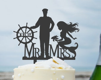 Mr and Mrs Wedding Cake Topper with Date Mermaid Decor His Mermaid Her Captain Beach Wedding Mermaid Cake Topper Destination Wedding