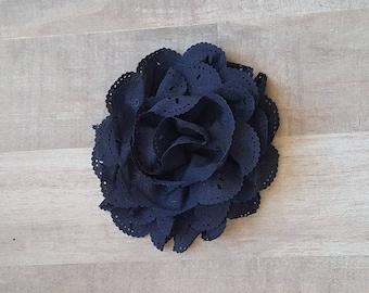 "4"" Navy Eyelet Flower, large flower puff, Navy fabric flower, Eyelet flower, DIY supplies, Headband flower, Flower Hair Clip, Navy flower"