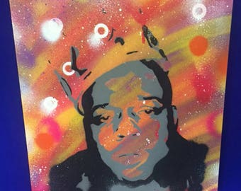 Biggie Small (rapper) spray painted stencil to canvas