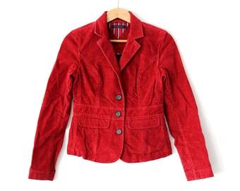 Vintage Tommy Hilfiger Jacket, 90's Tommy Corduroy Jacket, Red Tommy Denim Blazer, Women's Tommy Coat, Rare Tommy Hilfiger Jeans Blazer Top
