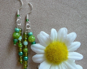 Colorful, Vibrant Green Dangling Stick Earrings - Perfect Easter Basket Gift, Spring Gift, Gift for Girlfriend, Gift for Her!