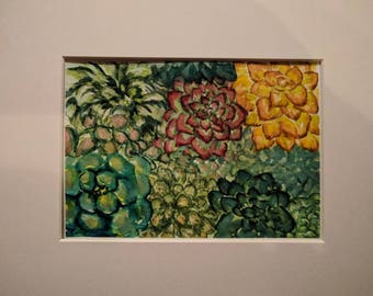 Bunches of Succulents, original watercolor painting