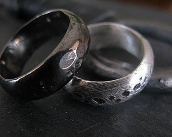 Fine Silver Rings Size 8 and 8 1/4 Unique Wedding Band Viking Wedding Ring Mens Wedding Bands Mens Rings Unique Mens Wedding Band Rustic Di