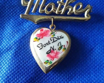 Vintage 50s 60s Estate Jewelry Mother Heart Locket Pin Brooch Fort Dix NJ Souvenir, Mother of Pearl Gold Brass Color Metal, Mothers Day Gift