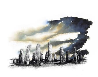 Standing stones | Limited edition fine art print from original drawing. Free shipping.