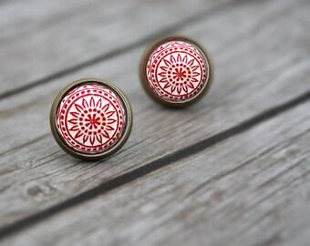 Vintage Style Post Earrings, Boho Stud Earrings, Gift for Her, Mosaic Earrings, Resin Jewelry, Earrings for Women, Stocking Stuffer for Wife