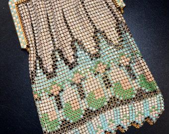 Antique Art Deco WHITING DAVIS Metal Enamel Mesh PURSE Geometric Design Handbag Checkerboard Frame